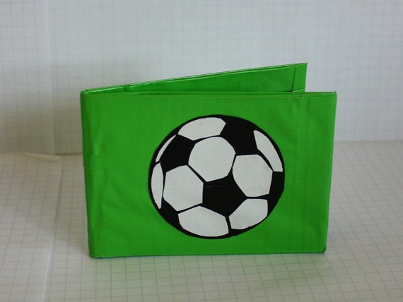 SALE! Soccer Ball Duct Tape Wallet - Lime Green