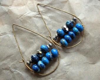 Blue Sea Sediment Jasper Teardrop Hoop Earrings