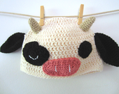 Homely Winking Cow- Cute Kawaii Cow Farm Animal Crocheted Hat Beanie, Ready to Ship