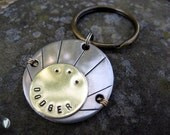 Nickel Silver and Brass Unique Pet Id Tag - Unique Pet Id Tag - Hand stamped - Aluminum Backer - Wire Wrap Technique