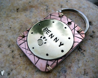 Personalized Hand Stamped Pet ID Tag - Large Pets - Copper and Brass - Aluminum Backer