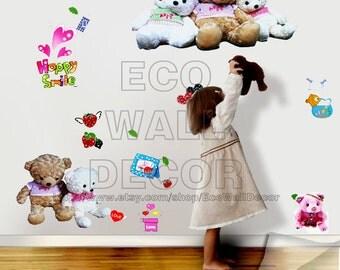 PEEL and STICK Kids Nursery Removable Vinyl Wall Sticker Mural Decal Art - Happy Smile Bears Hug Decal