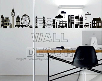 PEEL and STICK Removable Vinyl Wall Sticker Mural Decal Art - Olympic London Skyline Architecture Landscape Shadow Decal