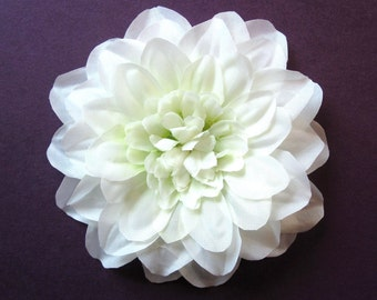 Fabric Flower Hair Accessory: Pin, Hair Clip, or Fascinator - Light Ivory Dahlia