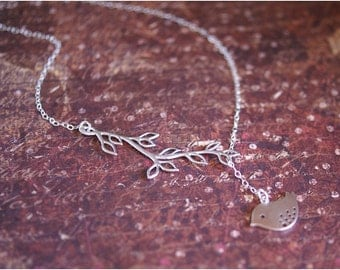 Leaf Bird Lariat -STERLING SILVER Chain- Bird Necklace, Branch Necklace, PRETTY Wife, Grandma, Mother Gift by RevelleRoseJewelry