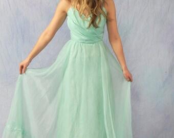 CUSTOM Mint Seafoam Green Vintage Bridesmaid Party Prom Long Dress