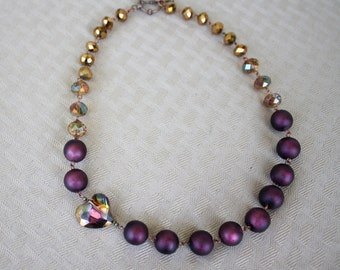Heart Necklace, Plum Purple and Copper Crystal, Earrings Included