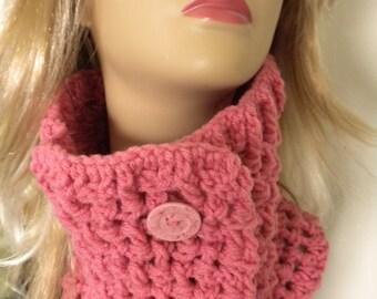 Crochet Neckwarmer  Pink  Scarf