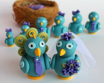 Peacock wedding cake topper, love bird cake topper with nest, banner and 6 baby birds