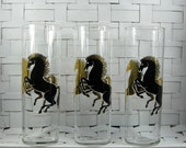 Three mid century black and gold horse Tom Collins tall glasses