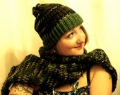 Camo Scarf and Beanie Knit Hat Set
