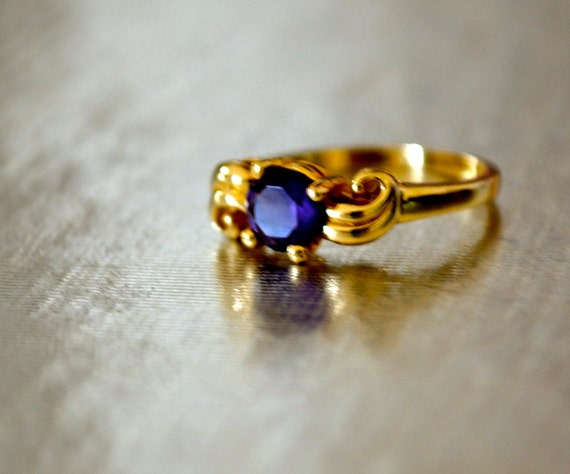 Amethyst Ring Size 3, 14K Yellow Gold, Pinky Ring, February Birth Stone, Estate Sale, Item No. G003