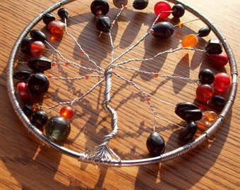 Silver, Black, and Orange Metal Tree of Life Sun Catcher/ Window Ornament/ Plant Decoration