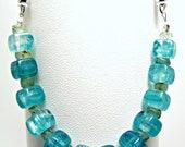 Light Blue and Aquamarine Glass Beaded Medical Bracelet Attachment