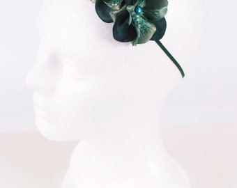 READY TO SHIP: Divine Destiny Stretchy Flower Headband - Jade Green - Fits toddler to adult - Cutie Patootie Designz