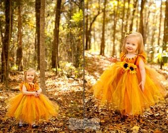 Flower Girl Dress - Fall tutu dress - size 3T 4T or 5T - Fall tutu dress - Flower Girl Tutu Dress - Pageant Dress - Sunflower dress