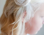 Flower girl hair clip with rhinestone detail in ivory, white, pink and all silk colours