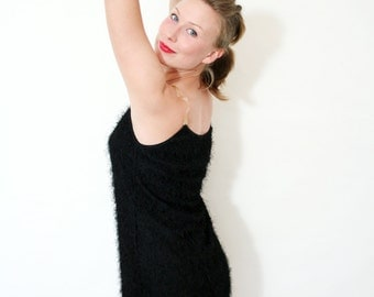 Vintage 90s Deadstock Black Fuzzy Textured Mini Dress with Clear Straps