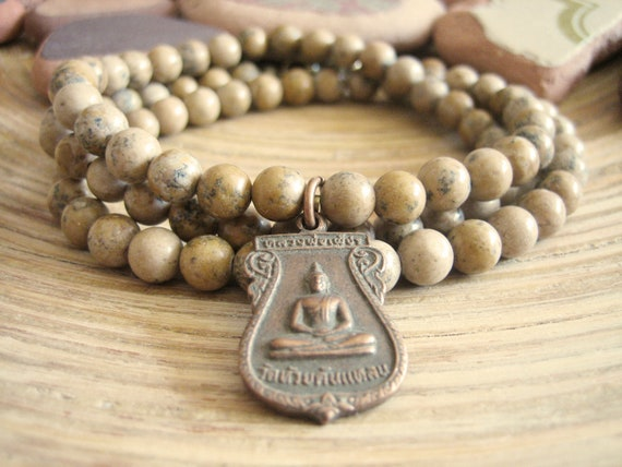 Buddha Necklace - Spiritual Necklace with Picture Jasper Mala Beads and Vintage Blessed Thai Buddha Amulet Pendant, Mens Unisex