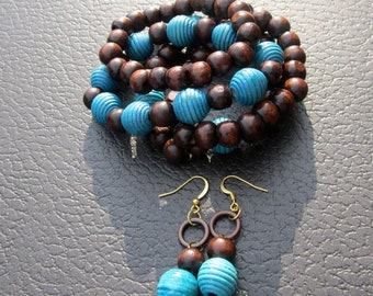 Chocolate Brown and Turquoise Beaded Stackable Bracelets and Earring Set
