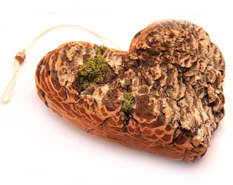 Fathers Day gift for him for her girlfriend gift Large Rustic Driftwood Heart Bark Moss Hand Turned Wooden Bead from branch natural decor