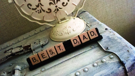 BEST DAD Sentiment Spelled out With Vintage Scrabble Tiles Placed on a Painted Black Scrabble Tray