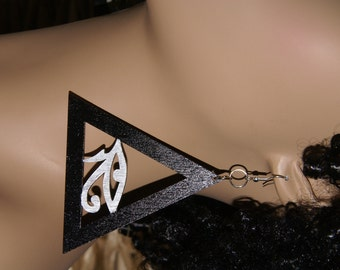 Eye of Horus Triangle Earrings- Black and Silver