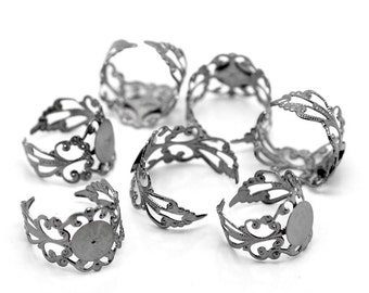 Gunmetal Filigree Ring Setting Adjustable 17.5mm 5pcs- Ships IMMEDIATELY  from California - A96