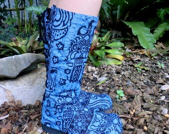 Vegan Womens Moccasin Boots,Bright Blue Balinese Batik  Pull On Style - Viva