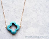 Turquoise Clover Necklace. Bridesmaid Gift. Lucky Turquoise Clover. Lucky Shamrock. December Birthday. Also Available in Other Colors