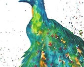 Peacock -  Home, Office, Den, Housewarming Gift - FREE SHIPPING - Original Fine  Art Watercolor  Painting by ebsq Artist Ricky Martin