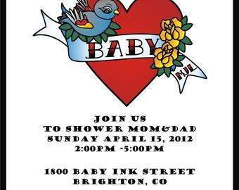 Tatto Inspired Baby Shower Invite