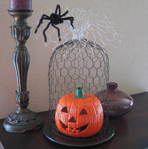 Halloween Decor - Spider Web Wire Cloche - Black/Silver