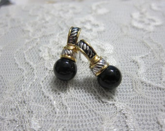 Silver and Gold Tone with Black Pearl Earrings