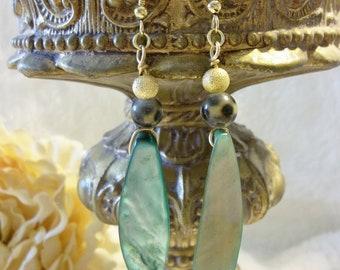 Striking Green Mother of Pearl Earrings