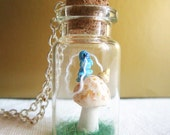 Miniature Terrarium with Caterpillar  Bottle Necklace, Alice in Wonderland by   MADE TO ORDER