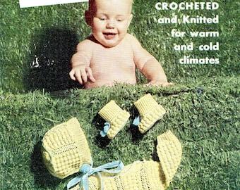 Vintage Patterns Knitting Crochet Baby Book 1950s