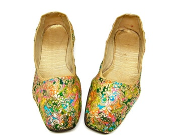 Vintage Gold Shoes 1950s Flats Colorful Brocade Slippers