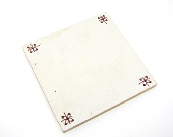 Vintage Tile Holland White Sepia Painted Ceramic Trivet