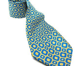Vintage Tie Turquoise Lime Geometric Pattern Necktie 60s