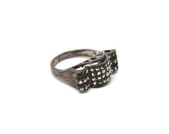 Vintage Ring Marcasite Art Deco Style Ring 1930s Silver