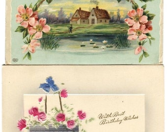 6 Vintage Postcards of Framed Scenery in Vases, Bowers Picture Frames Repurpose