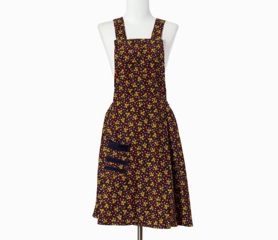70s Vintage Dress Jumper Overalls Acorns Corduroy Small Medium