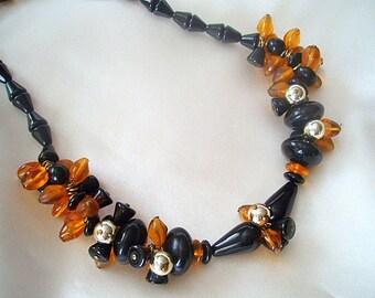 Luxury Black Agate Necklace, Cluster Necklace, Briolette, Natural Lava Ash, Vintage 1960s, Black, Amber Jewelry