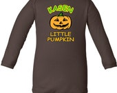 Little Pumpkin Cute Personalized Halloween Long Sleeve Infant Onesie