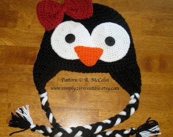 Penguin Hat Pattern - Crochet Pattern 35 - Beanie and Earflap Pattern - Newborn to Adult - us and uk terms - INSTANT DOWNLOAD