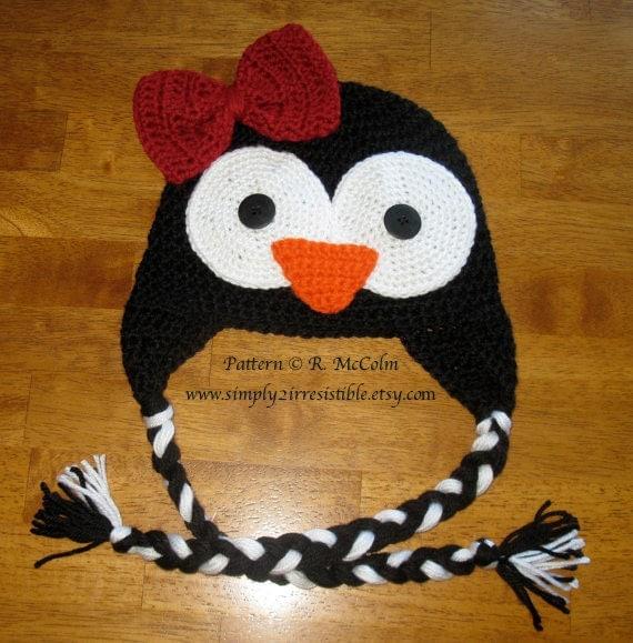 Penguin Hat Pattern Crochet Pattern 35 Beanie and Earflap