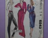 RARE McCall's 6843 Uncut HALSTON Sewing Pattern for Wrap Top, Skirt & Pants SIZE 10, Bust 32.5
