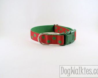 "Green Elf Dots Christmas Dog Collar - 1"" (25mm) Wide - Choice of collar style and size - Martingale Dog Collars or Quick Release Buckle"
