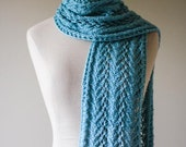 Stella Bamboo Lace Scarf - Hand Knit Bamboo Lacey Scarf in Blue - Made to Order
